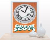 Back to the Future Print Great Scott - Film poster retro decor wall art aqua blue orange hill valley clock marty mcfly 80s movies cinema