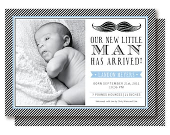 Mustache Birth Announcements, Little Mister Photo Card, Baby Boy