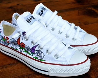 Custom hand painted flowers on low top Converse Chuck Taylor All Stars