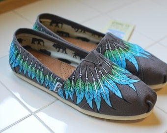 Custom Hand Painted TOMS -- Feather Moccasin on Ash Grey Canvas Classic TOMS Shoes -- Customizable