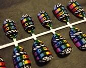 Hand-painted false nails - Aztec rainbow nail art