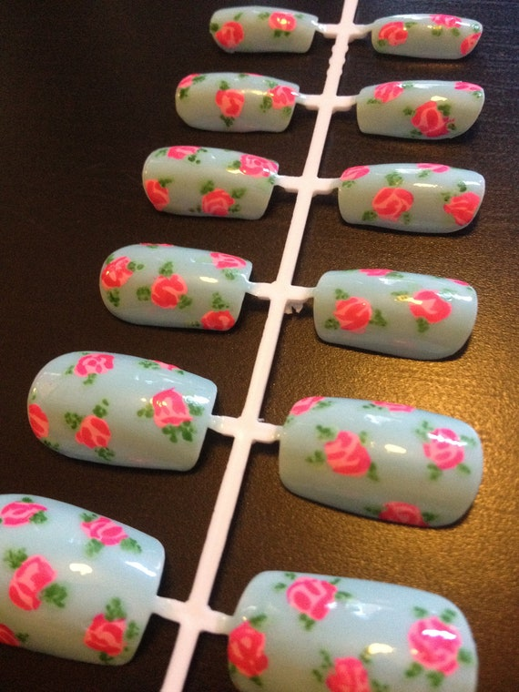 Hand-painted nail art - baby blue with pink roses - false nails