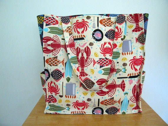 Nautical Market Tote Carry All Bag Beach Bag with Lobsters, Clams, Fish - Hoodies Bistro Menu