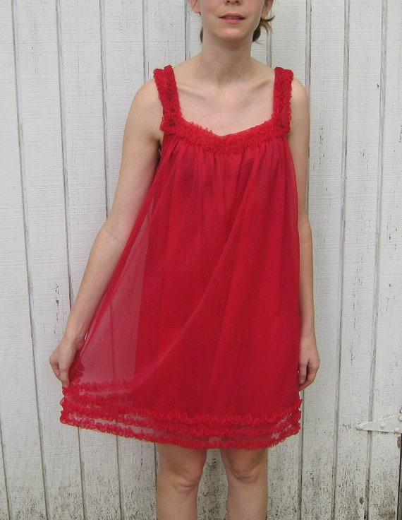 Vintage 60's Nightgown Ruffle Pin Up Lingerie Red 60's Frill Babydoll Dress Medium