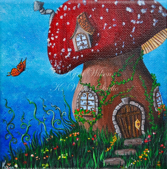 Country Cottage, by Kyra Wilson, an original fine art fairy house painting
