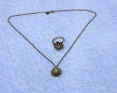 Matching Set - Flower Necklace and Ring - Sarah Coventry - Sarah Cov - Kerry
