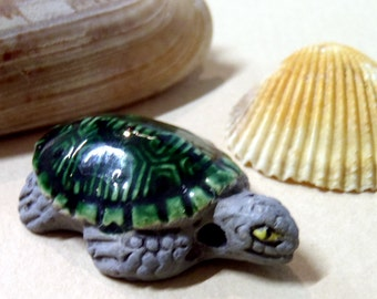 Tropical Clay Turtle, Great Details, Green Sea Turtle, Tortoise, Beach Beads, Surf Turtle