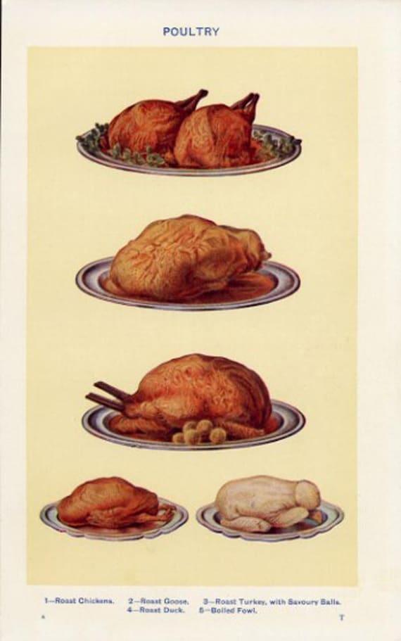 Roast dinner print - chicken - goose -turkey print - vintage food print - joints of meat - food print - vintage print