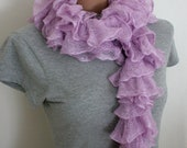 CHRISTMAS SALE Frilly Ruffle Scarf, Pearly Light Purple Lilac Lila Colour, Hand Knitted Cotton Blend RTS