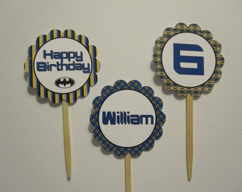 Batman Cupcake Toppers ~ Personalized ~ Set of 12