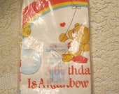 Vintage 1980's Carebears Birthday Paper Tablecloth American Greetings NEW