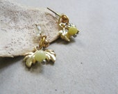 Leaves stud earrings- small yellow bead - dainty petite earrings