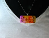 Necklace Brooch Ink Stained Domino Abstract Dyed with Alcohol Inks
