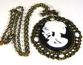 Steampunk, Rockabilly, Goth Cameo Necklace Skeleton Bronze Female