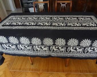 Handblocked X-LARGE  rectangle tablecloth - OOAK