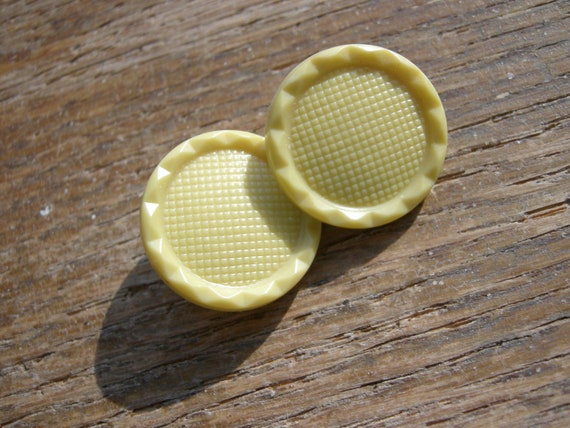 2 Textured Yellow Vintage Buttons
