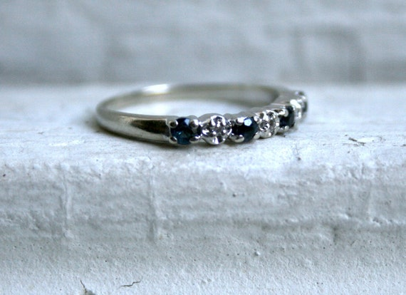 RESERVED - Vintage Alternating Sapphire and Diamond Wedding Band.