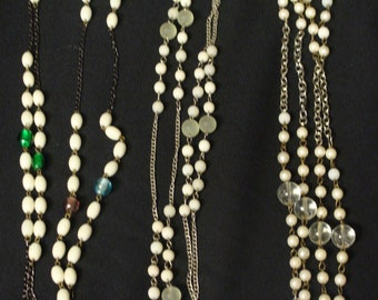 SET of 3 BEADS and Chains NECKLACES