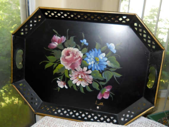 Vintage Black Metal Tole Painted Tray