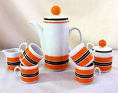 MCM  German Porcelain Coffee Set Winterling Bavaria Tea Pot Orange Black
