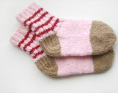 Hand Knitted Wool Socks - Pink and Light Brown, Children Size