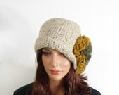 Crochet Cloche Hat with Large Flower - Beige