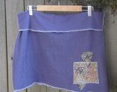 Smoky Blue Aline Mini Skirt/ Eco Stretch Knit Mini Skirt Paisley Print Patches XL XXL