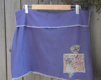 Smoky Blue Aline Mini Skirt/ Eco Stretch Knit Mini Skirt Paisley Print Patches XL XXL