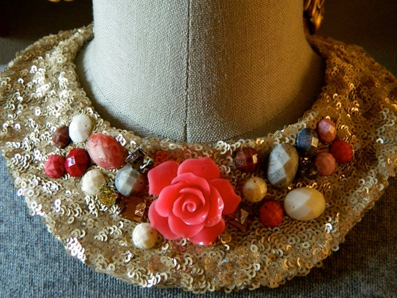 Stone Encrusted Jewel Collar Necklace with Jewelry Clasp Closure