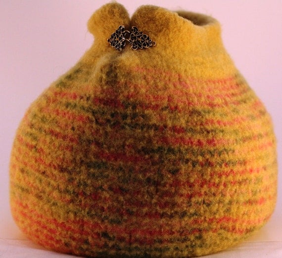 Hand Knit Felted Wool Ginormous Yarn Bowl Yellow Pink