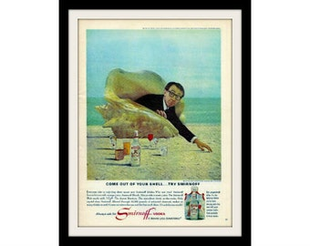 "1966 Smirnoff & Woody Allen Vodka Ad ""Out Of Shell"" Vintage Advertisement Print"