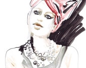Art, Painting, Watercolour Fashion Illustration Print, ink fashion illustration, Red turban
