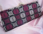 Vintage Clutch Purse - Designer Clutch Purse - Vintage Stylecraft of Miami - Black & Pink Purse - Midcentury Clutch