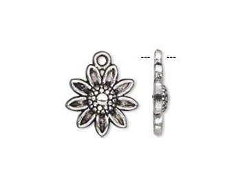 Antique Silver Pewter Daisy Flower Charms, 14x14mm - 5 charms