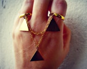 triangle double ring, triangle ring, slave ring, connected rings, chain rings, unique ring, tribal