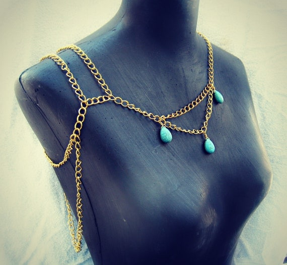 turquoise drops body chain necklace, turquoise jewerly, statement necklace, unique necklace