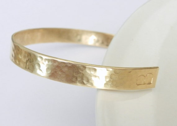 Personalized gold hammered cuff