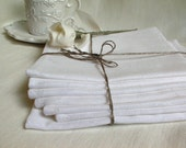 Linen Damask Napkin--Dinner/Coffee Napkin Set of 7--Delicate Linen Wedding, Festival, Provence Home Decor