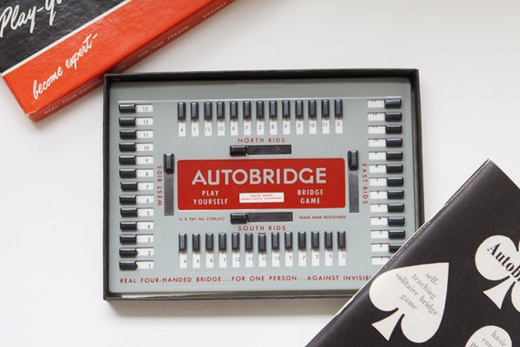 vintage AutoBridge game - complete set - play yourself bridge game 1950/60s - gifts for her - gifts for him