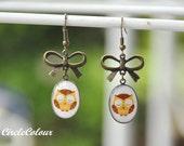 SALE 10% off - OWL Earrings - Sleepy Owl & Antique Bronze Bow Earrings - Bronze Earrings Hook