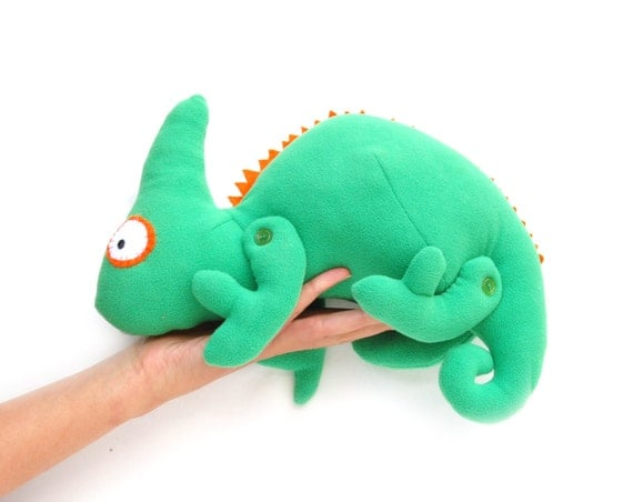 Soft Toy Chameleon woodland creatures green reptile kids stuffed animal