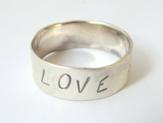 Message Ring, Sterling Silver Ring LOVE HOPE DREAM  Message, Made to order