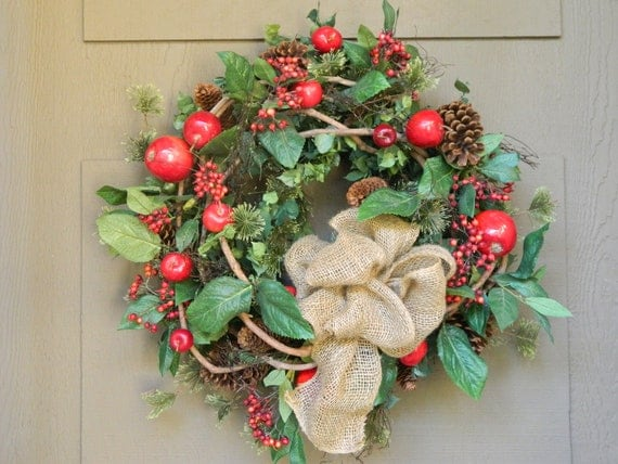 Christmas wreath holiday wreath front door by tatteredcottage2 for Front door xmas wreaths