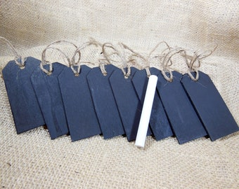 8 Chalkboard Tags with Jute Twine and Chalk Included - Wood Chalkboard Tag