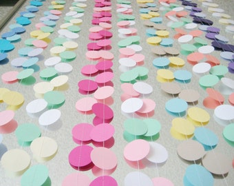 CUSTOM (Pick your  Colors) 12 ft Circle Paper Garland- Wedding, Birthday, Bridal Shower, Baby Shower, Party Decorations