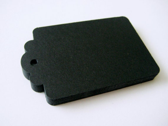 50 BLACK Hang Tag, Gift Tag, Price Tag Die cuts punches cardstock 2.25X1.5 inch -Scrapbook, cards