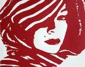 """5"""" x 7"""" Linocut -- Woman Wearing Scarf in Red"""