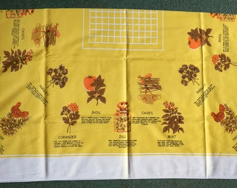Funky 60s Tablecloth with Herb Designs and Uses