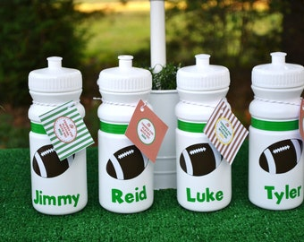 Personalized 20 oz. white football sports bottle