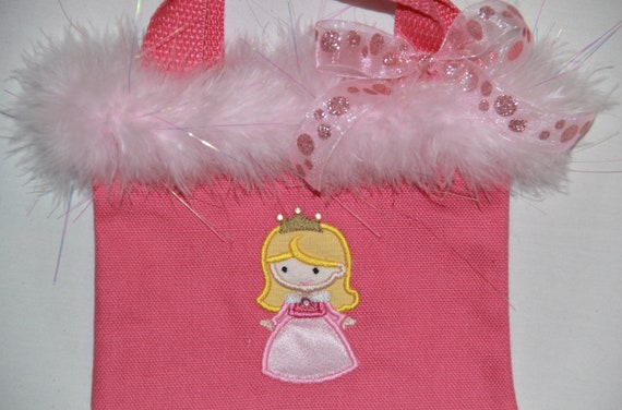 Mini Purse Personalized with Cutie Princess as Sleepy Pink Beauty Applique with Bow